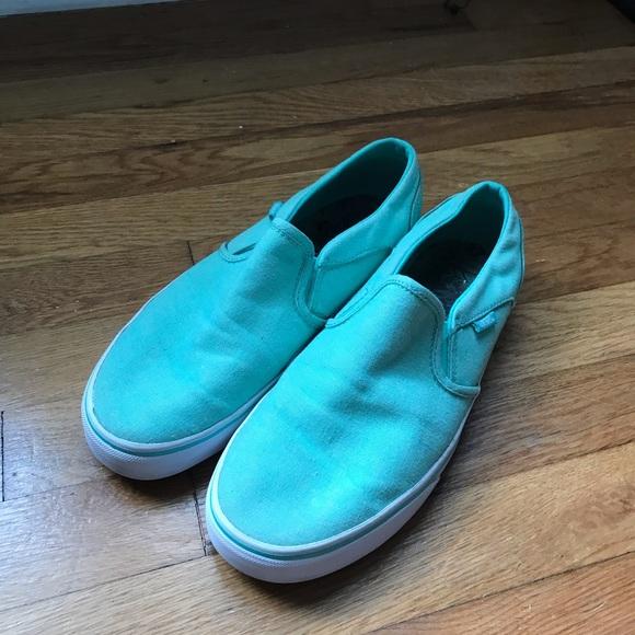 vans slip on turquoise